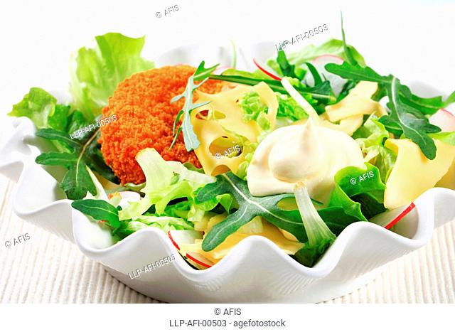 Green salad cheese and mayonnaise