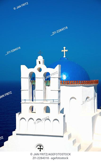 white church of Poulati at Sifnos in Greece