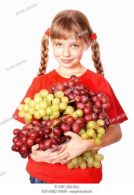Girl takes bunch of grape