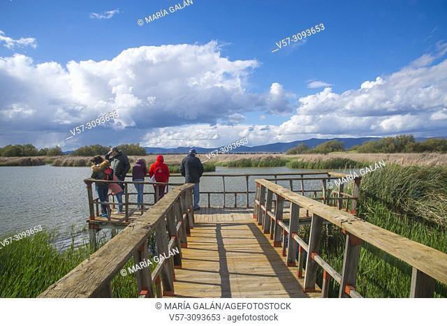 People at the viewpoint. Tablas de Daimiel National Park, Ciudad Real province, Castilla La Mancha, Spain