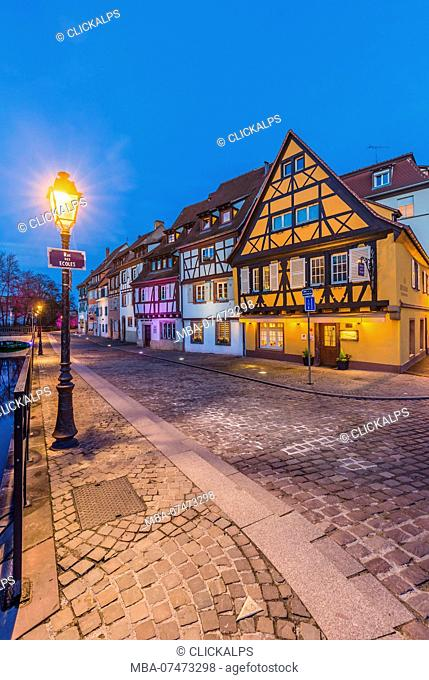 Colorful half timbered houses at night, Colmar, France