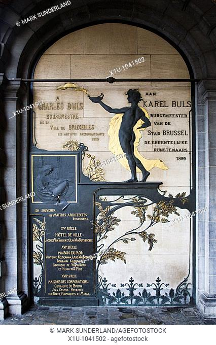Art Nouveau Memorial to Charles Buls by Victor Horta Grand Place Brussels Belgium