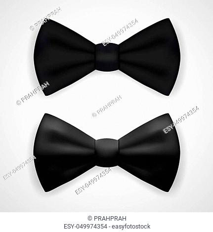 Matte And Glossy Black Bow Tie. EPS10 Vector