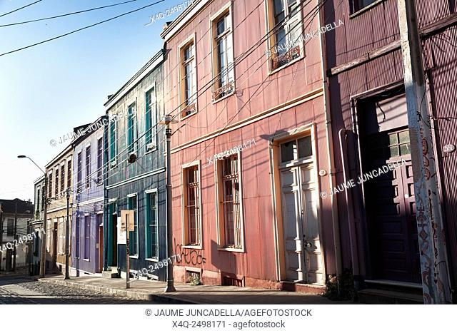 Valparaiso, Chile. Houses on Cerro Concepcion, Valparaiso historic World Heritage of UNESCO