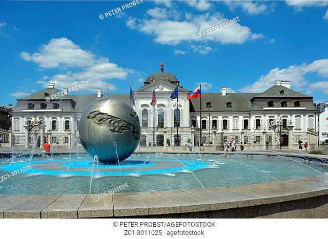 Grassalkovich Palace with the Monument Worldglobe in Bratislava - official residence of the Slovak President