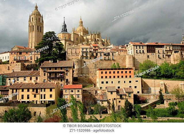 Cathedral, skyline, Segovia, Castilla-Leon, Spain