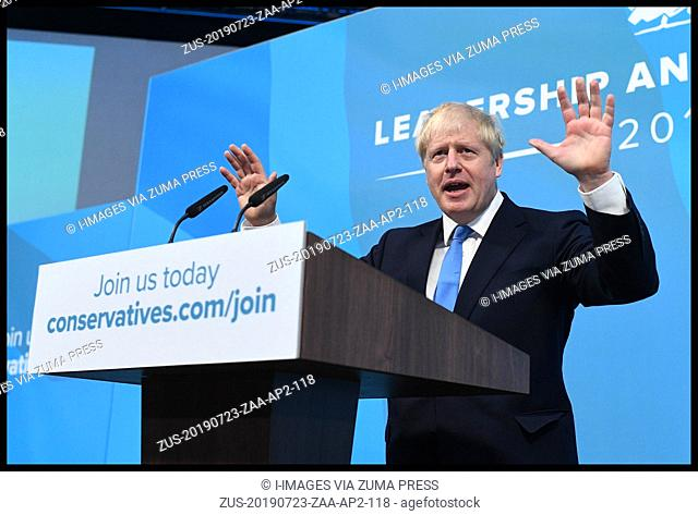 July 23, 2019 - London, London, United Kingdom - Conservative Party Leader Announced. Boris Johnson and Jeremy Hunt and the announcement of the result of the...