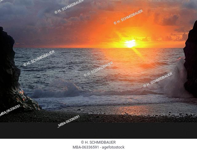 Sunset on the Puerto Naos beach, La Palma island, the Canaries, Spain, Europe