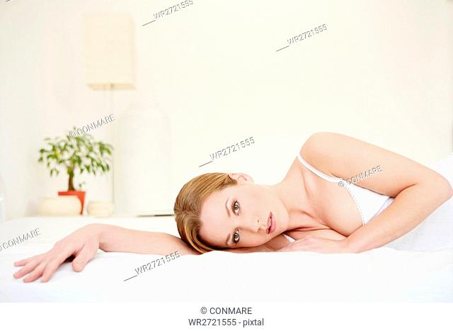 young, woman, lying, tender, gentle, bed, pure, mo