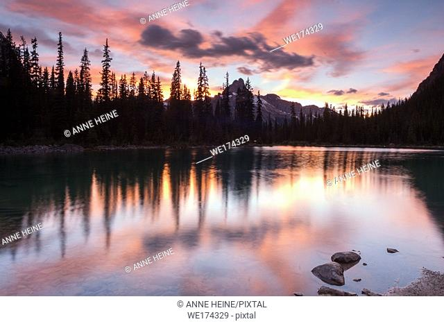 Lake O`Hara at twilight. Yoho National Park, Canada