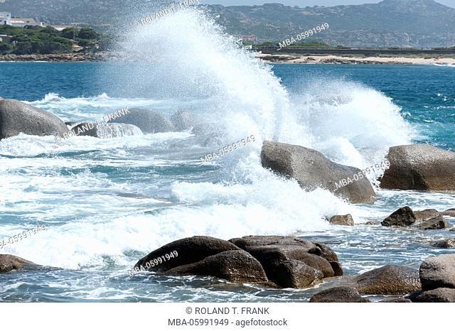 Italy, Sardinia, sea surf on the rocky coast of the Capo Testa