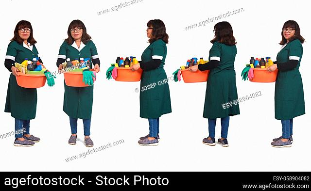 front side and back view of full portrait woman with a bucket with cleaning products on white backgrounds