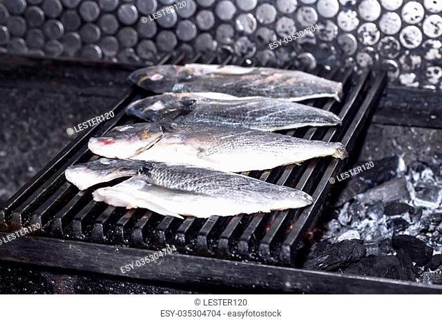 cooking in a restaurant grilled dorado fish