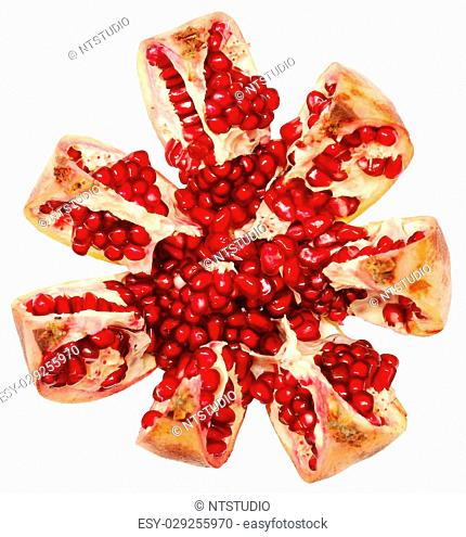 pomegranate grains isolated on a white