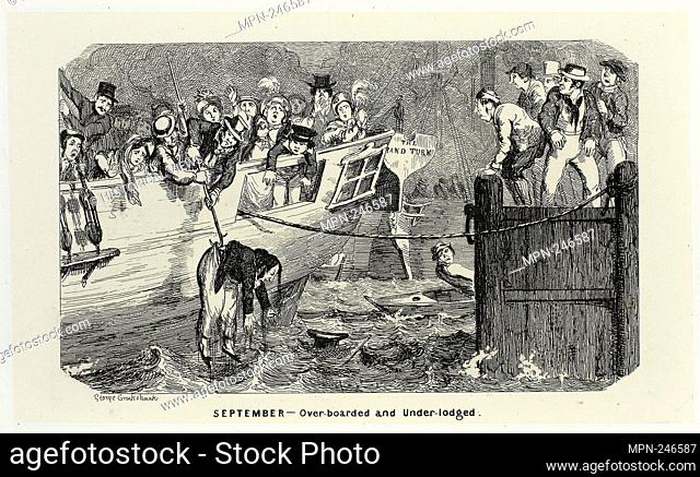 September - Over-Boarded and Under-Lodged from George Cruikshank's Steel Etchings to The Comic Almanacks: 1835-1853 - 1840, printed c