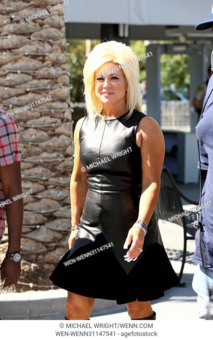 Theresa Caputo seen at Universal studios where she was interviewed by Mario Lopez for television show 'Extra' Featuring: Theresa Caputo Where: Los Angeles