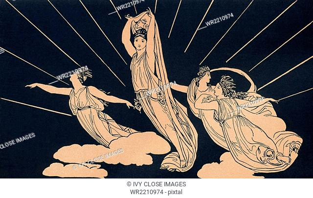 This early 1900s illustration accompnied a book on Homer and his epic Odyssey for young girls and boys. It shows Morning, or rosy-fingered dawn as Homer (fl