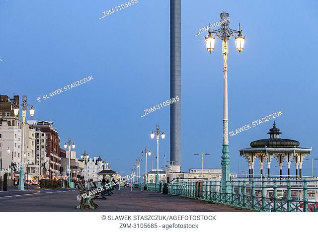 Evening on Brighton seafront, East Sussex, England