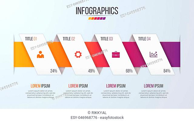Paper style infographic timeline design template with 4 steps. Vector illustration