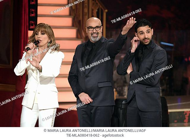 Milly Carlucci, Giovanni Ciacci and Raimondo Todaro during the tv show Dancing with the stars, Rome, ITALY-07-04-2018