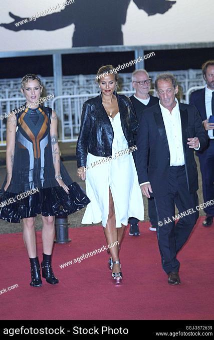 Julia Ducournau, Vincent Lindon, Agathe Rousselle attended 'Titane' Red Carpet during 69th San Sebastian International Film Festival at Victoria Eugenia Theatre...