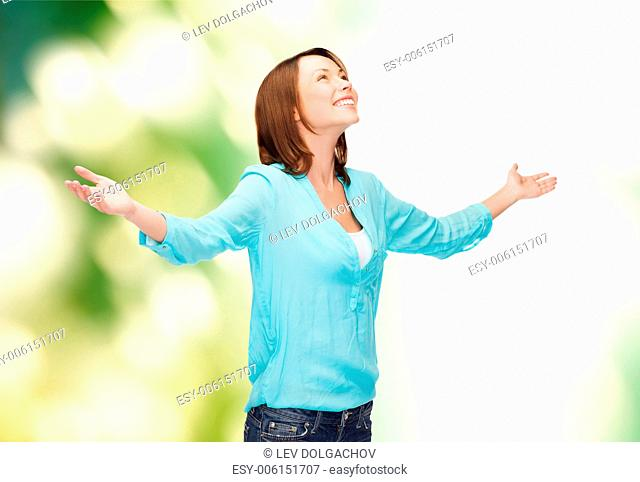 happy people concept - smiling woman waving hands