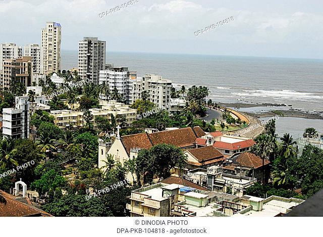 Aerial view of skyline of Bandra Band Stand Road ; Bombay Mumbai ; Maharashtra ; India