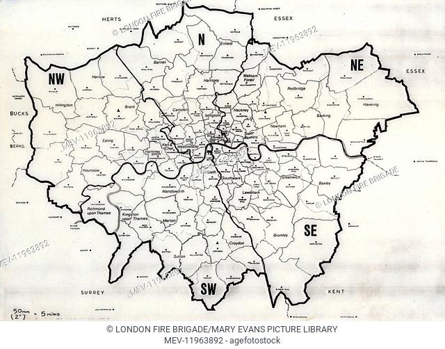 Map of the Greater London area with council areas marked