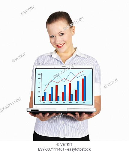 girl holding notebook with chart on a white background