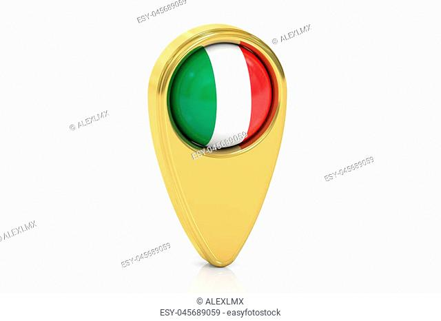 map pointer with flag of Italy, 3D rendering isolated on white background