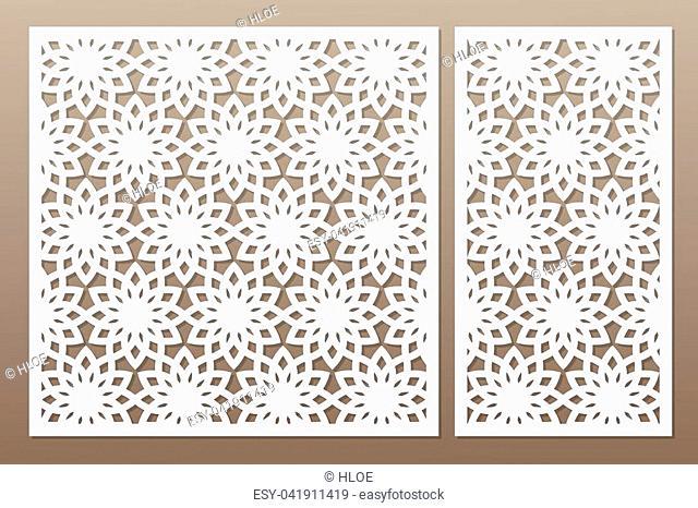 Template for cutting. Geometric flower pattern. Laser cut. Set ratio 1:2, 1:1. Vector illustration