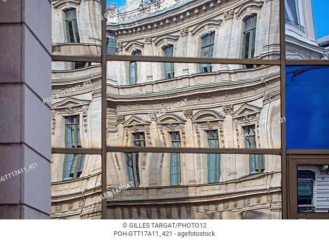 France, Lyon, Place des Cordeliers, reflections of the Palais de la Bourse in a glass building, Photo Gilles Targat