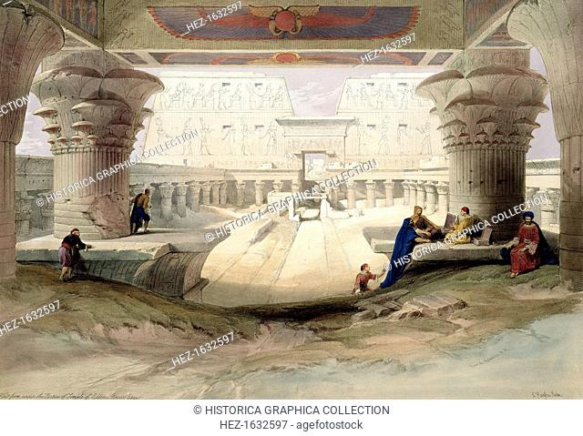'View from under the Portico of Temple of Edfou, Upper Egypt', 1846. Plate 32 from Vol 1 of Egypt and Nubia by David Roberts