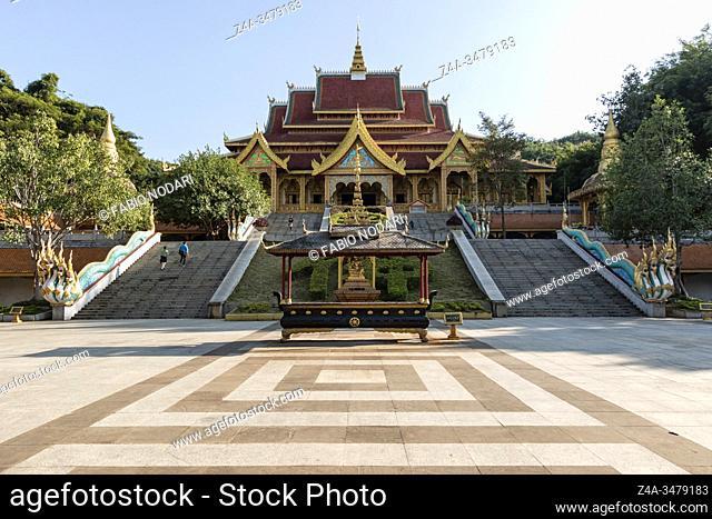 Jinghong, China - January 2, 2020: Mengle Temple in Jinghong - Xishuangbanna capital in Yunnan