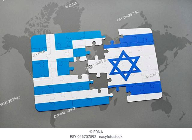 puzzle with the national flag of greece and israel on a world map background. 3D illustration