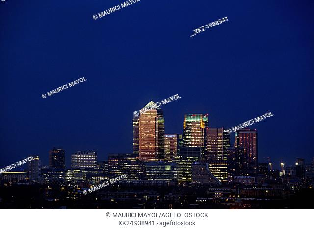 Amazing reddish light reflecting Canary Wharf skyline from Bermondsey, London, UK