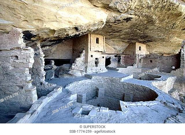 Wide Angle Full View of the Balcony House Cliff Dwelling, Mesa Verde Natioanl Park, Colorado