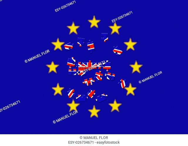 Brexit referendum UK United Kingdom or Great Britain or England withdrawal from EU European Union , British vote leave. The flag of UK EU Symbolic that...