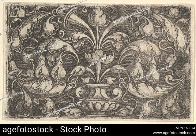 Horizontal Panel with Tendrils Growing Outwards from a Vase at Center. Artist: Heinrich Aldegrever (German, Paderborn ca