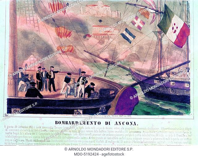 Bombing of Ancona (Bombardamento di Ancona), 19th Century, engraving