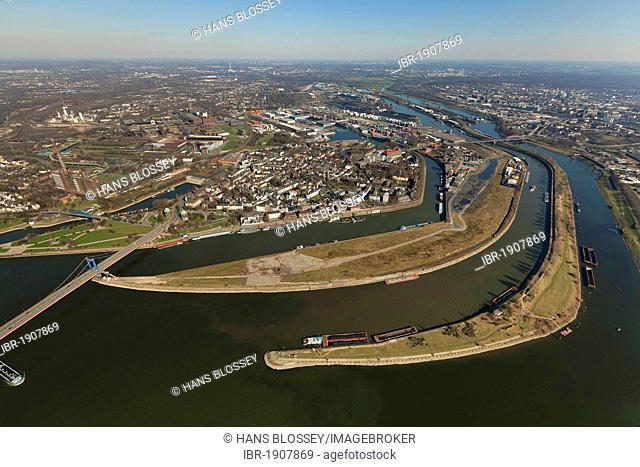 Aerial view, Ruhr estuary, Ruhrort district, Duisburg, Ruhrgebiet region, North Rhine-Westphalia, Germany, Europe