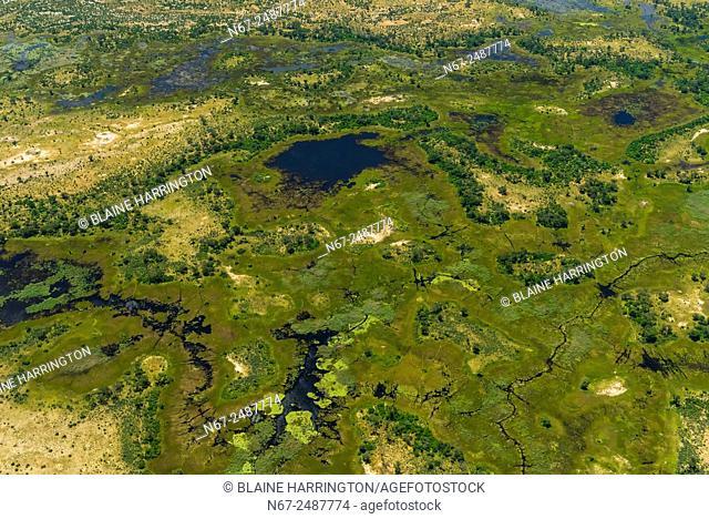Aerial views on flight from Okavango Delta to Maun, Botswana