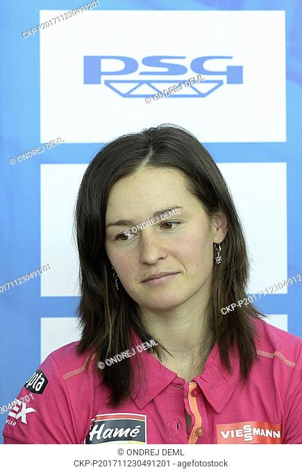 Czech biathlete VERONIKA VITKOVA attends the press conference of Czech Biathlon Union prior to the start of the winter season, in Prague, Czech Republic