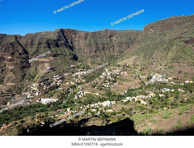 Valle Gran Rey, Upper Valley with El Retamal and La Vizcaina, La Gomera, Canary Islands, Canaries, Spain