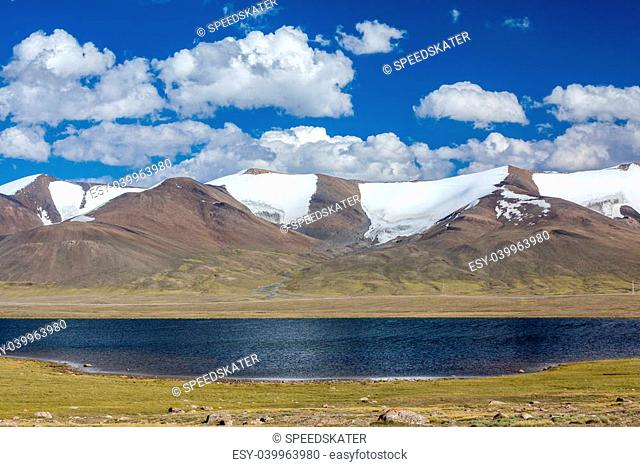 Lake in high snowy Tien Shan mountains, Kirghizia