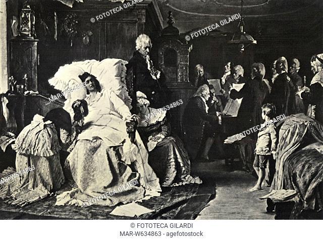Wolfgang Amadeus MOZART (1756-1791) morente dirige una prova del suo 'Requiem' eseguito per l'occasione da amici. Stampa da dipinto di Hermann Kaulbach