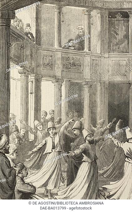 Dancing Dervishes, Constantinople (Istanbul), Turkey, illustration from the magazine The Graphic, volume XIII, no 333, April 15, 1876