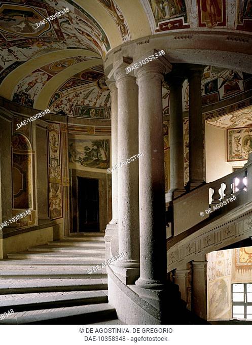 The Scala Regia (Royal Staircase) of Palazzo Farnese, by Iacopo Barozzi known as Vignola (1507-1573), detail, Caprarola, Lazio, Italy