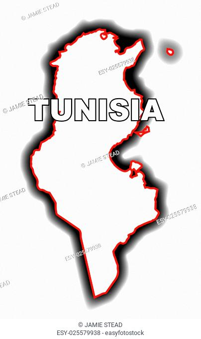 Outline map of the Arab League country of Tunisia