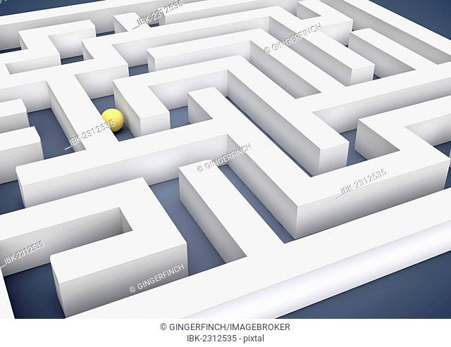 Labyrinth, maze, with a ball or sphere, symbolic image for path to success search, 3D illustration